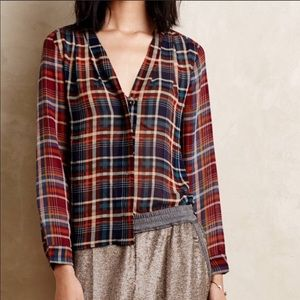 Maeve Anthropologie Plaid Sheer Blouse